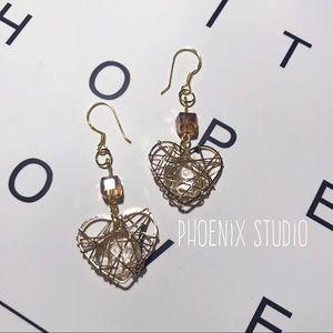 NWT Phoenix Studio Golden Heart Earrings